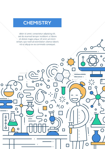 Chemistry - line design brochure poster template A4 Stock photo © Decorwithme