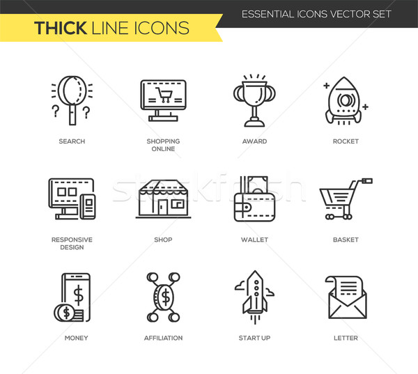 Business, shopping modern thick line design icons set Stock photo © Decorwithme