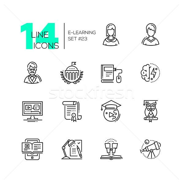 eLearning- modern single line icons set Stock photo © Decorwithme