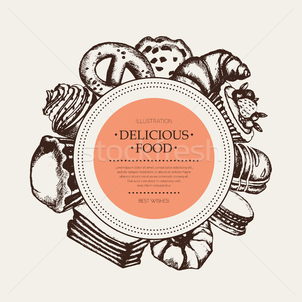 Delicious Food - monochromatic hand drawn round banner. Stock photo © Decorwithme