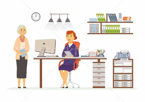 Stockfoto: Kantoor · scène · moderne · vector · cartoon · business
