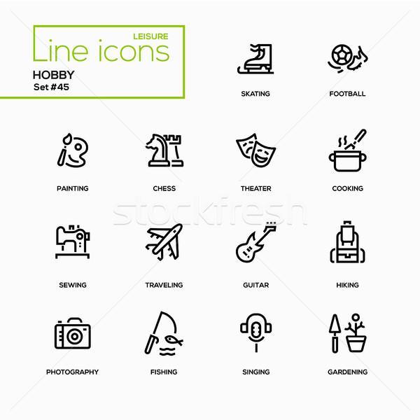 Hobby - line design icons set Stock photo © Decorwithme