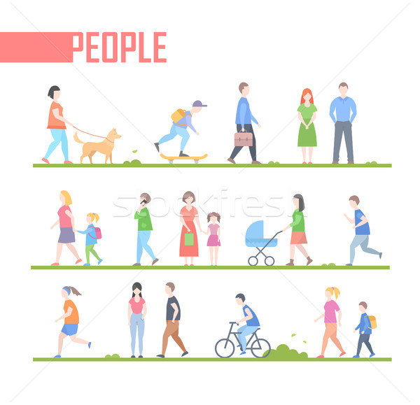 People - set of vector cartoon flat design style characters illustration Stock photo © Decorwithme