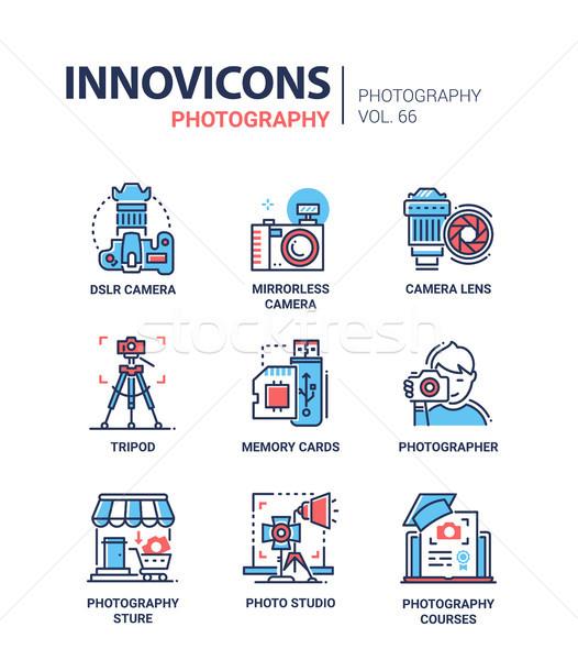 Photography - line design icons set Stock photo © Decorwithme
