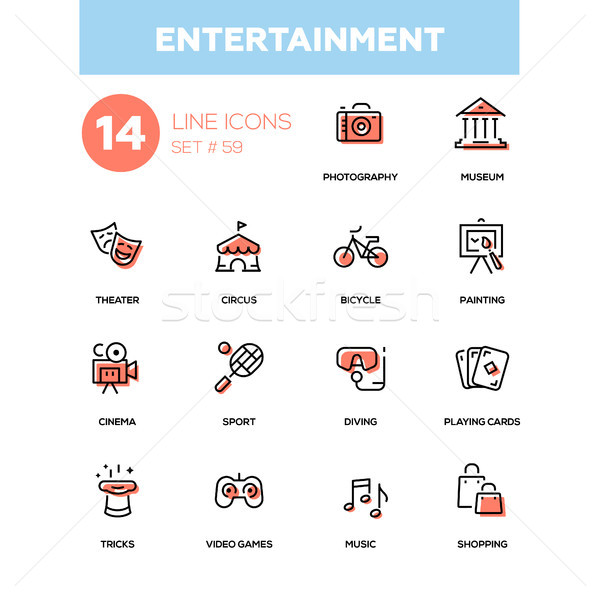 Entertainment - line design icons set Stock photo © Decorwithme