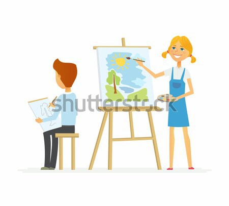 Young woman ironing clothes - cartoon people characters isolated illustration Stock photo © Decorwithme