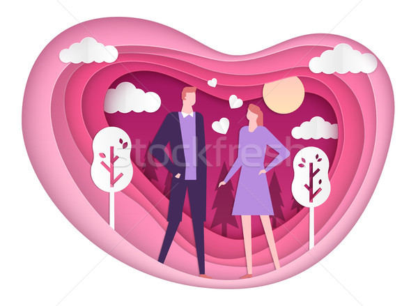 Happy couple on a date - vector paper cut illustration Stock photo © Decorwithme