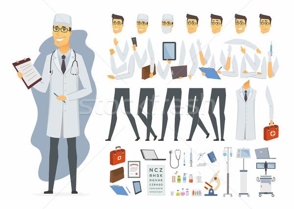 Fiatal orvos vektor rajzolt emberek karakter izolált Stock fotó © Decorwithme