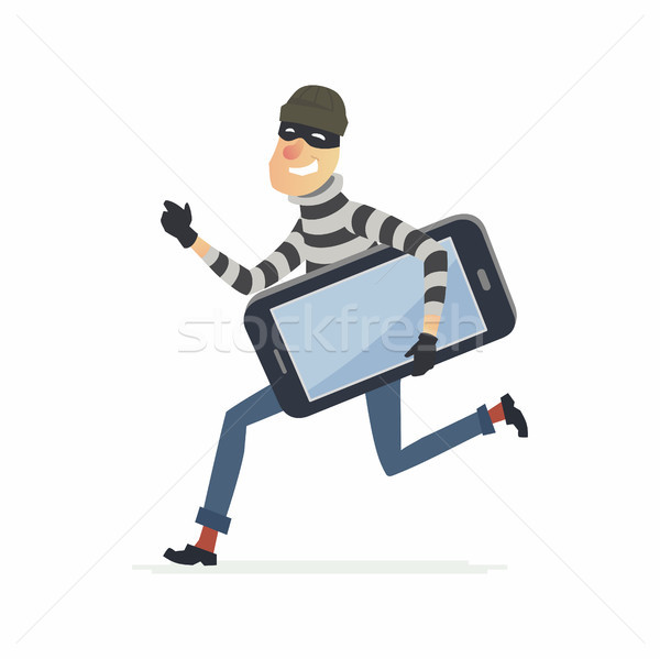 Thief stealing smartphone - cartoon people characters illustration Stock photo © Decorwithme
