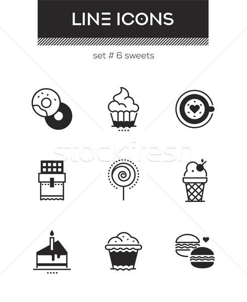 Stok fotoğraf: şekerleme · ayarlamak · hat · dizayn · stil · simgeler