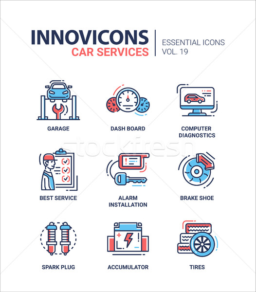 Car Services modern thin line design icons and pictograms Stock photo © Decorwithme