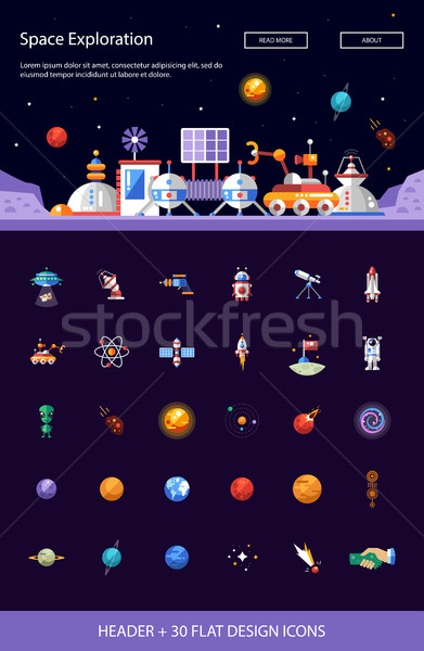 Header with modern flat design space icons and infographics elem Stock photo © Decorwithme
