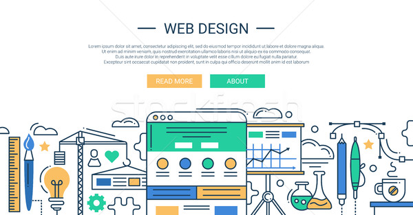 Illustration of modern line flat design composition and infographics elements with website developme Stock photo © Decorwithme