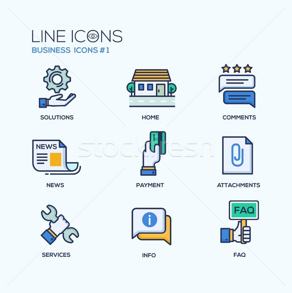 Set of modern office thin line flat design icons and pictograms. Business infographics objects, web  Stock photo © Decorwithme