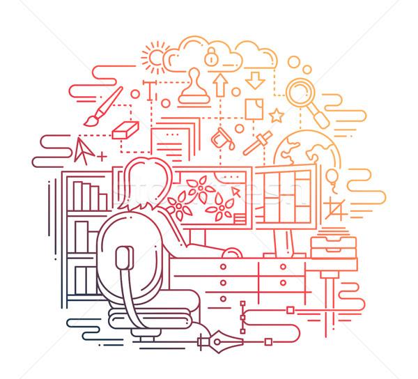 дизайнера работу линия дизайна иллюстрация вектора Сток-фото © Decorwithme