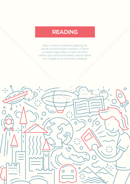 Reading - line design brochure poster template A4 Stock photo © Decorwithme