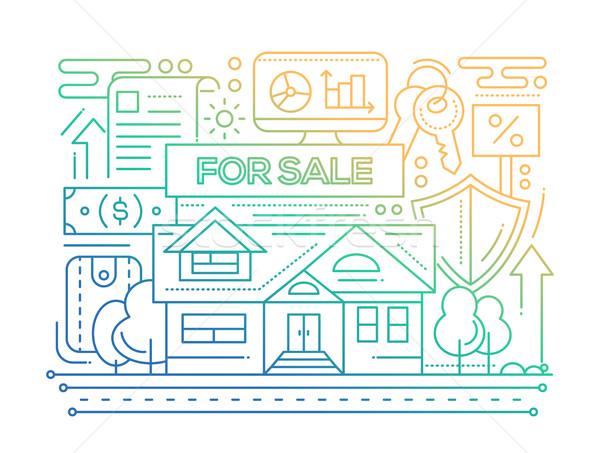 Inmobiliario línea diseno color gradiente vector Foto stock © Decorwithme