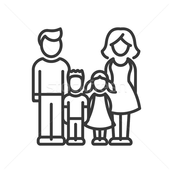 Two Children Family - vector modern line design illustrative icon Stock photo © Decorwithme