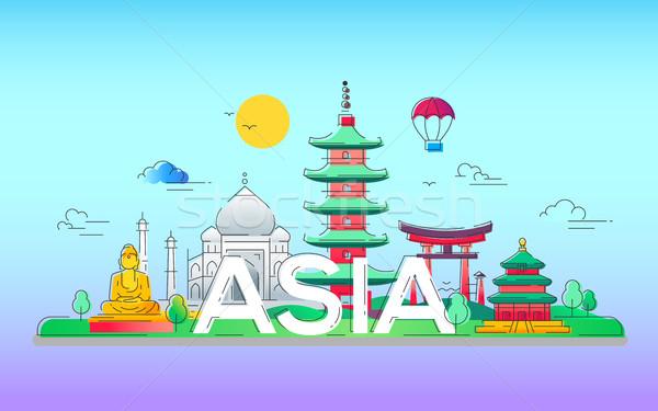 Asia - vector line travel illustration Stock photo © Decorwithme