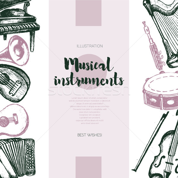 Musical Instruments - hand drawn vintage banner. Stock photo © Decorwithme