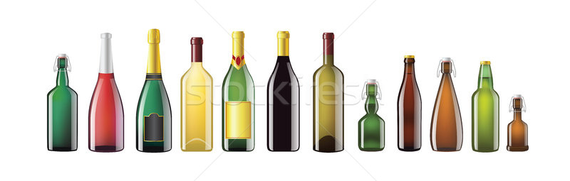 Alcohol Bottles - realistic vector set of objects Stock photo © Decorwithme