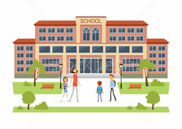 Back to school - happy boys and girls going to educational facilities Stock photo © Decorwithme