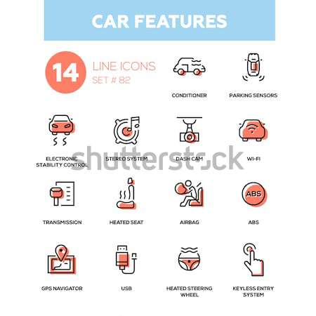 Medical equipment - Modern simple thin line design icons, pictograms set Stock photo © Decorwithme