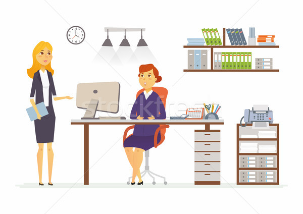 Office Discussion - modern vector cartoon business characters illustration Stock photo © Decorwithme