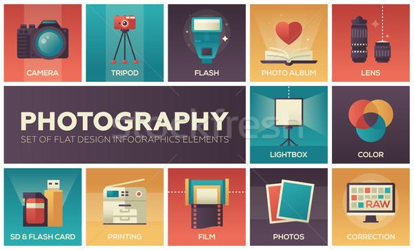 Fotografia conjunto projeto infográficos elementos colorido Foto stock © Decorwithme