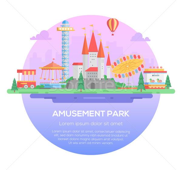 Amusement park - modern vector illustration Stock photo © Decorwithme
