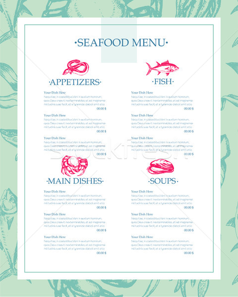 Delicious Seafood - vector drawn template menu Stock photo © Decorwithme