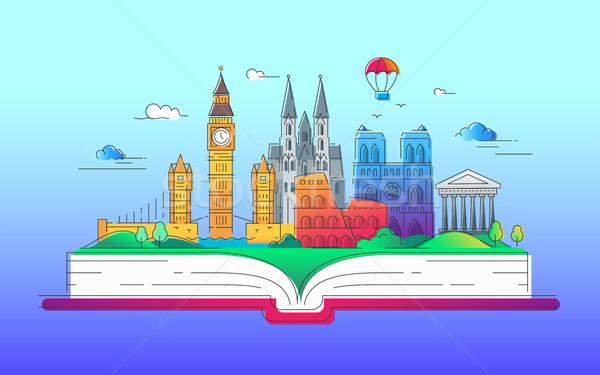 Around the world - vector line travel illustration Stock photo © Decorwithme