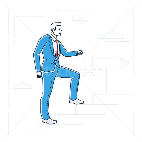 Businessman climbing a ladder - line design style isolated illustration Stock photo © Decorwithme
