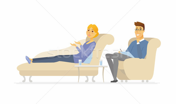 A woman seeing a psychologist - cartoon people character isolated illustration Stock photo © Decorwithme