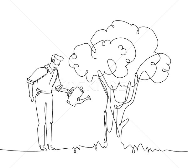 Man watering the tree - one continuous line design style illustration Stock photo © Decorwithme