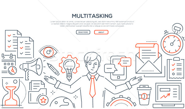 Multitasking - line design style illustration Stock photo © Decorwithme