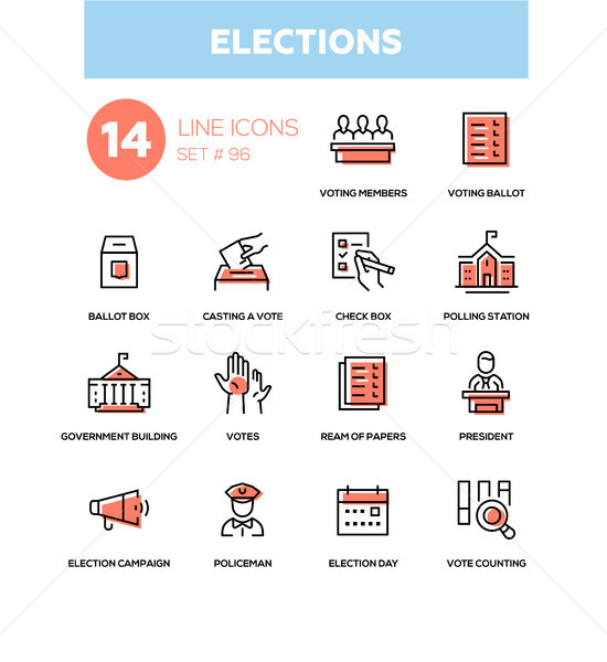 Elections - modern line design icons set Stock photo © Decorwithme
