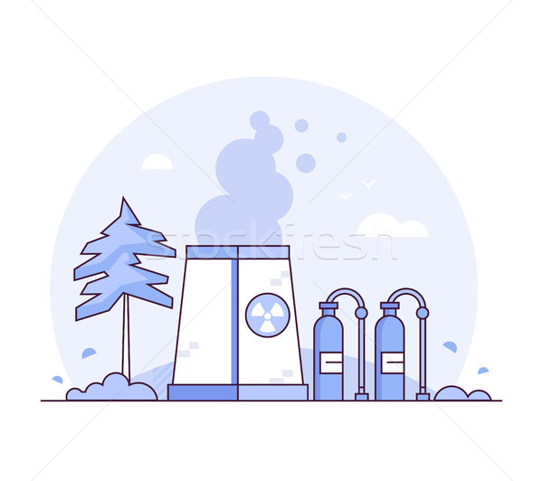 Nuclear power plant - thin line design style vector illustration Stock photo © Decorwithme