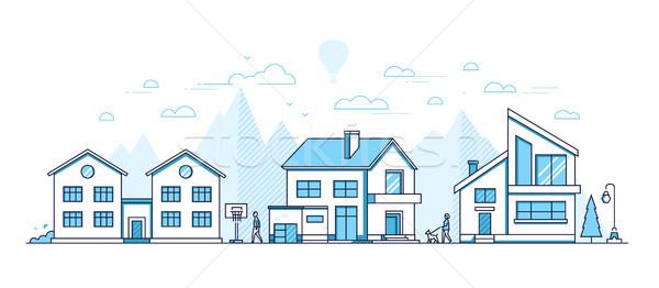 Ville vie modernes léger ligne design Photo stock © Decorwithme