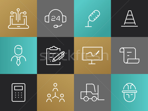 Single Line Business Pictograms Set Stock photo © Decorwithme