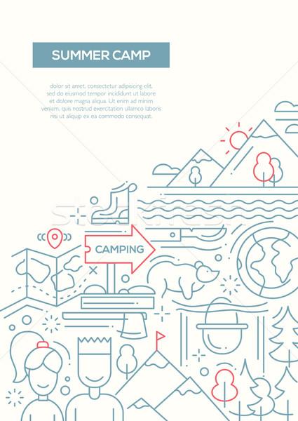 кемпинга походов линия дизайна туризма Элементы Сток-фото © Decorwithme