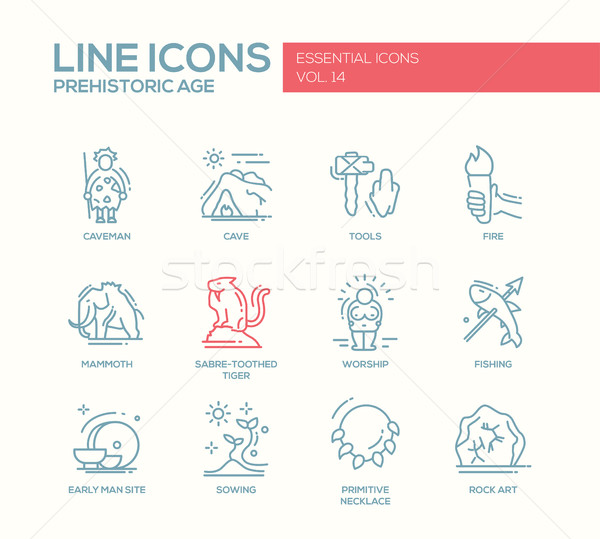 Prehistoric age- line design icons set Stock photo © Decorwithme