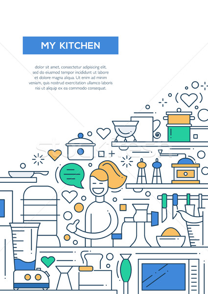 My Kitchen - line design brochure poster template A4 Stock photo © Decorwithme