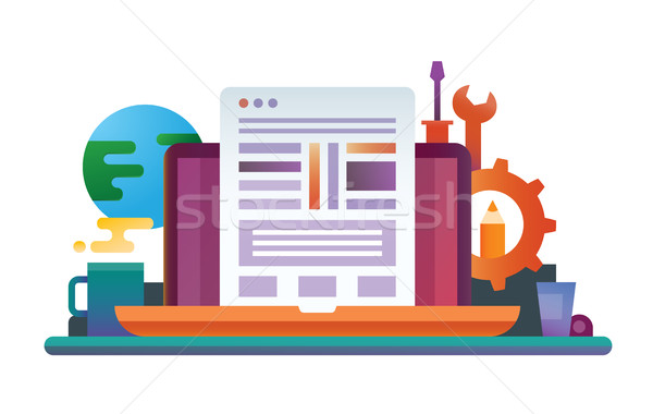 Programmering tools ontwerp website banner vector Stockfoto © Decorwithme