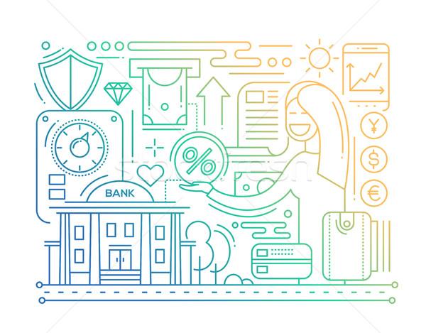 Bank Services - line design composition - color gradient Stock photo © Decorwithme