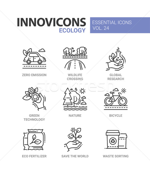 Ecology - modern color vector single line icons set Stock photo © Decorwithme