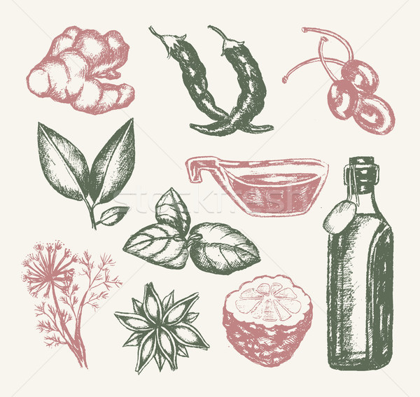 Flavoured Products - illustration of drawn vintage composition Stock photo © Decorwithme
