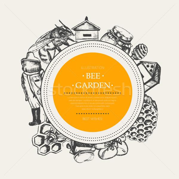 Bee Garden - modern drawn round banner template. Stock photo © Decorwithme