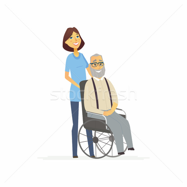 Volunteer with a disabled man - cartoon people characters isolated illustration Stock photo © Decorwithme
