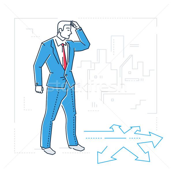 Businessman hesitating - line design style isolated illustration Stock photo © Decorwithme